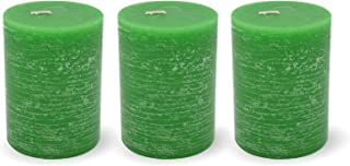 Set of 3 Green Unscented 4 Inch Tall Pillar Candles | Home Décor Accent for Centerpieces, Lanterns or Fireplace Mantles | Decorate Your Wedding, Bridal Shower or Home | 3W x 4H Inches