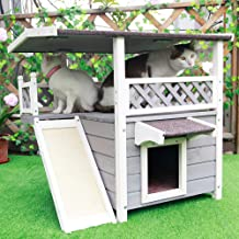 Petsfit Outdoor Cat House with Escape Door and Scratching Pad, 1-Year Warranty
