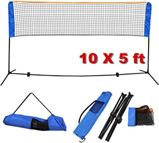 JungleA Volleyball Badminton Net Set Portable 10FT x 5FT with Stand Frame Bundle Kit for Soccer Tennis Beach Badminton Pickleball,Height Adjustable, for Indoor or Outdoor Court
