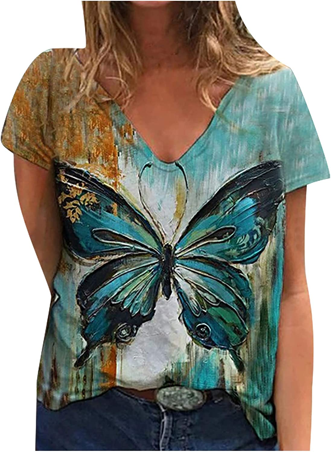 Women Graphic Shirts Award Butterfly Blouse Casual Sl Free shipping New Print Short Tops