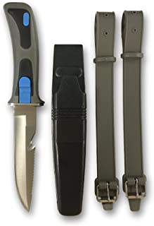 Fury Dive Knife, 9-Inch Rubber Grip with Secure Sheath and Leg Straps