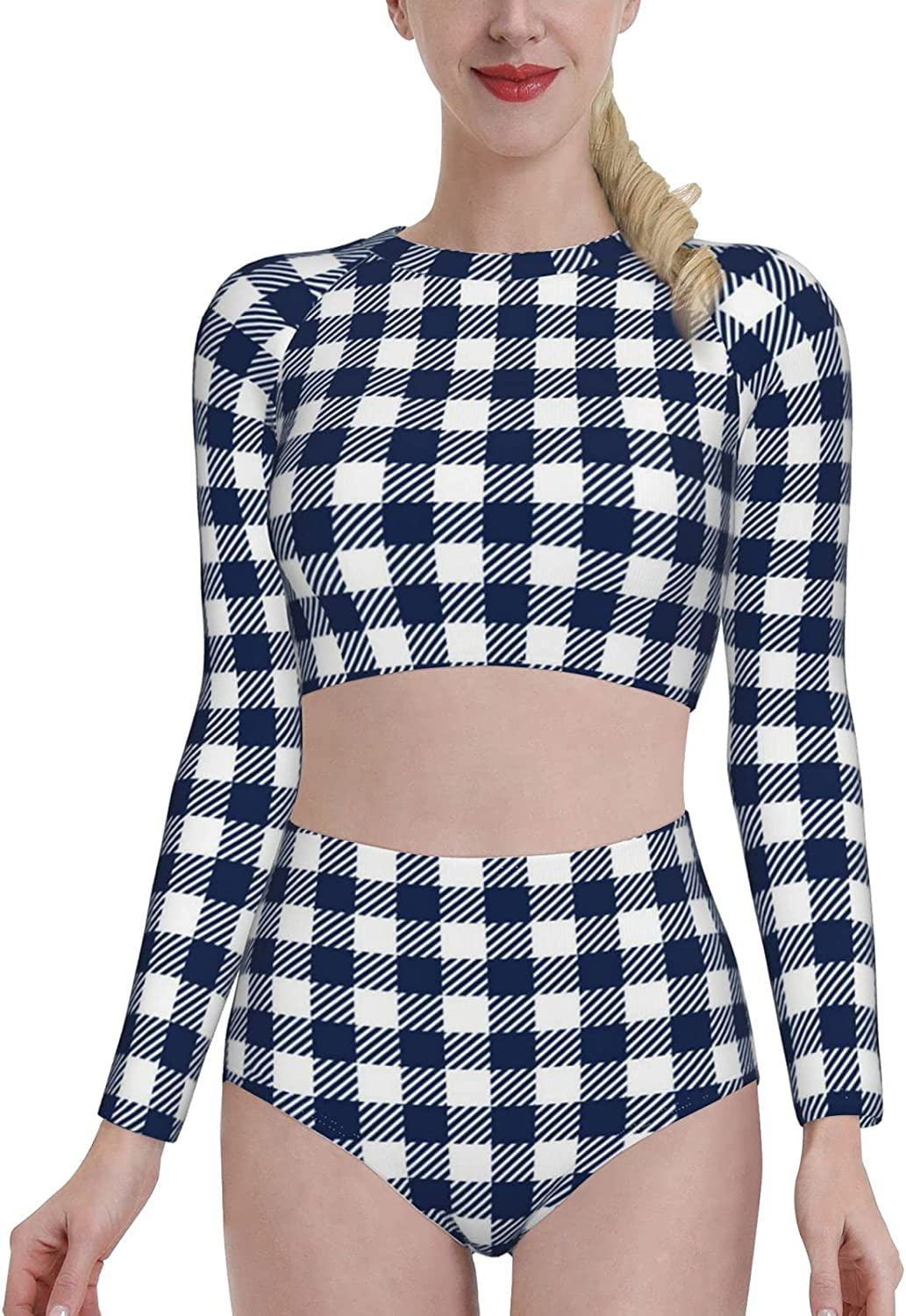 KUOAICY Blue and White Gingham Women's Rash Guard Long Sleeve Bathing Suit with Bra Swimsuit High Waist Pants