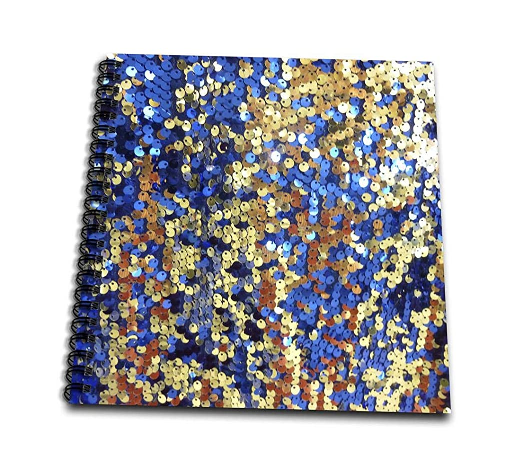 3dRose db_80242_2 Blue Gold N Copper Sequins-Memory Book, 12 by 12