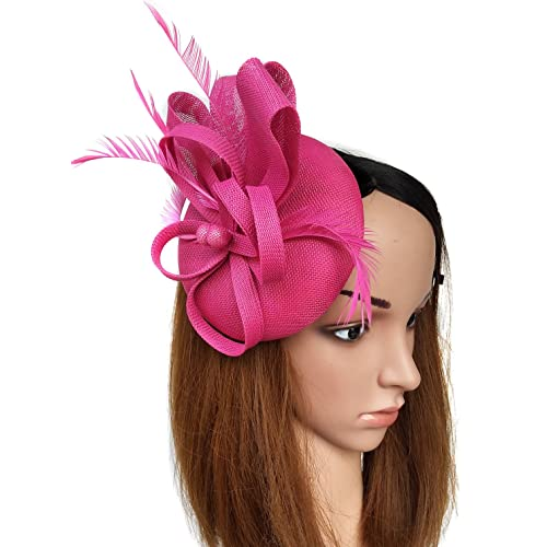 3b6009c4 Coolwife Fascinators Sinamay Hat Womens Feather Pillbox Derby Tea Party Hat