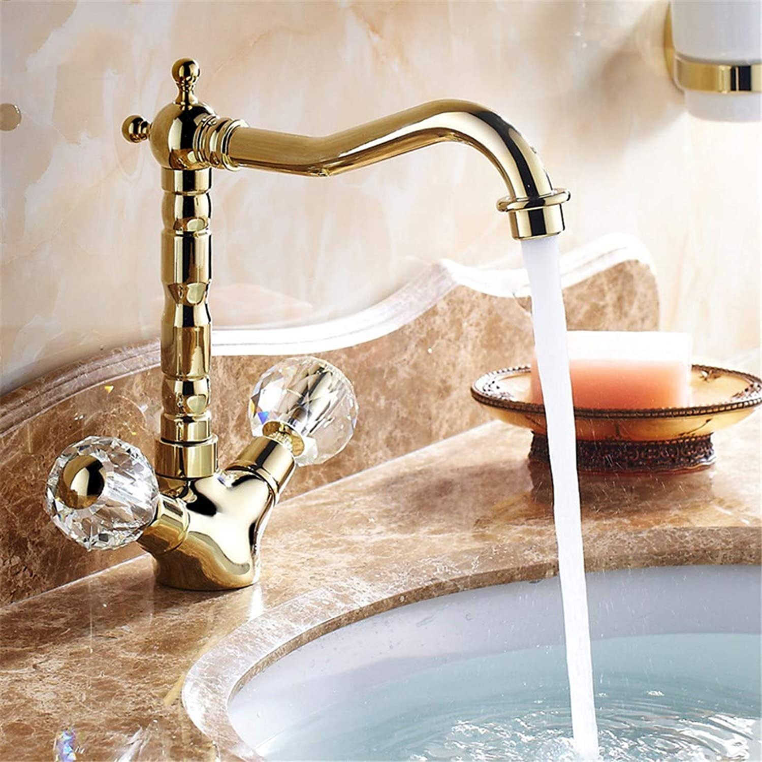 Oudan The American continental full copper kitchen faucet redation pink gold countertop basin gold, and all the copper basin kitchen sink cold water taps pink gold (color   2)