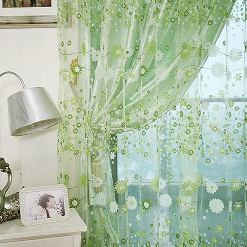 Voile Floral Valances Door Room Window Curtains Tulle Sheer Drape Panel Scarfs Green