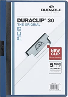 Durable Duraclip 2200/07 Clip File for 1-30 Sheets A4 - Dark Blue (Pack of 25)
