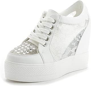 Women Wedges Sneakers with Hidden Heel Ankle High Wide Width Platform Walking Shoes