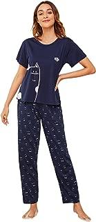 DIDK Women's Cartoon Print Top and Polka Dot Pants Pajama Set