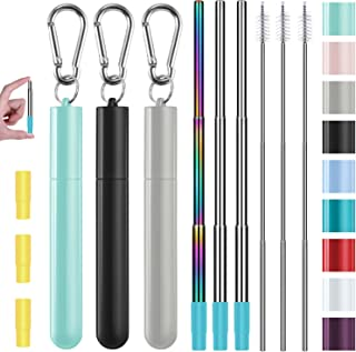 Metal Straws, Funbiz 3 Pack Reusable Collapsible Stainless Steel Straw with Plastic Case Silicone Tip and Long Cleaning Br...