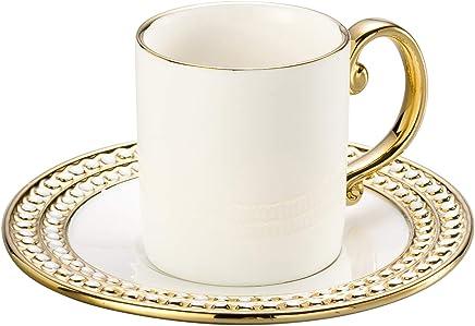Conjunto 6 Xícaras para Café de Porcelana Charme Lyor Dourado/ Branco 100Ml