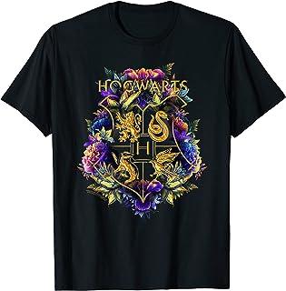 Harry Potter Hogwarts Multi-Colored Floral Crest T-Shirt
