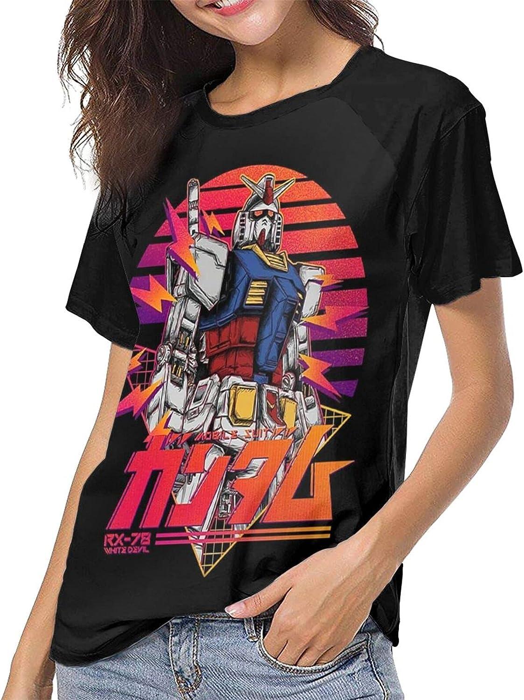 Anime Gundam Rx-78 T Shirt Girls Summer Cool Tops Short Sleeve Baseball Tees