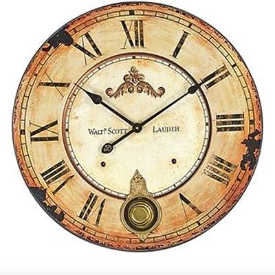 Creative co Vintage Walt Scott Lauder 23-Inch Diameter Wood Wall Clock with Pendulum