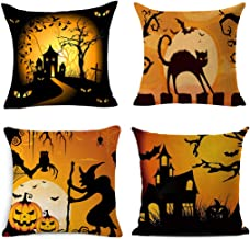 BPFY 4Pack Happy Halloween Pillow Covers 18 x 18 Inch Cotton Linen Black Cat Sofa Home Decor Throw Pillow Case Cushion Covers