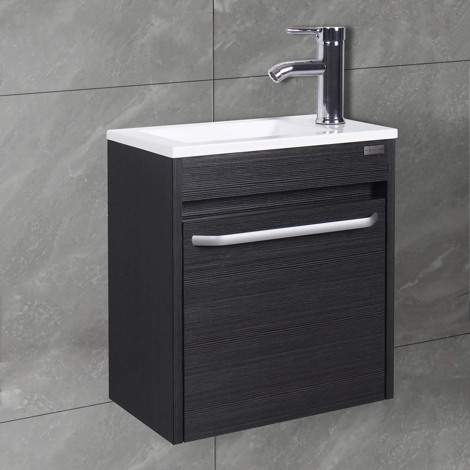 Buy Wonline 16 Bathroom Vanity Sink Combo For Small Space Black Wall Mounted Cabinet Set Design White Resin Basin Sink Top Chrome Faucet And Drain Online In Turkey B08d3f5xkm