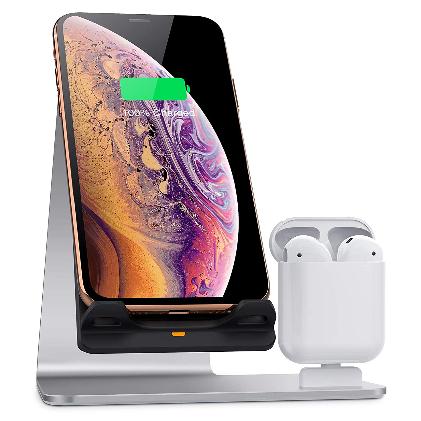 Bestand Wireless Charger Stand, Fast Wireless Charger Dock Compatible with Airpods/iPhone X/iPhone Xs/iPhone Xs Max/iPhone XR/iPhone 8 Plus/iPhone 8, Silver