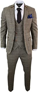 Marc Darcy Mens 3 Piece Herringbone Tweed Tan Brown Check Suit Tailored Fit Double Classic tan-Brown 34