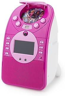 AUNA ScreenStar - Karaoke Pantalla 3.5 TFT 3 CDs con Canciones de Karaoke 2 micrófonos Cámara Frontal Reproductor de CD+G USB MP3 Altavoz Salida de Video Color Rosa
