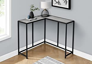 """Monarch Specialties L-Shaped Slim Narrow Accent Frame-for Living Room-Corner Console Table, 36L x 36"""" W, Grey Wood-Look/Bl..."""
