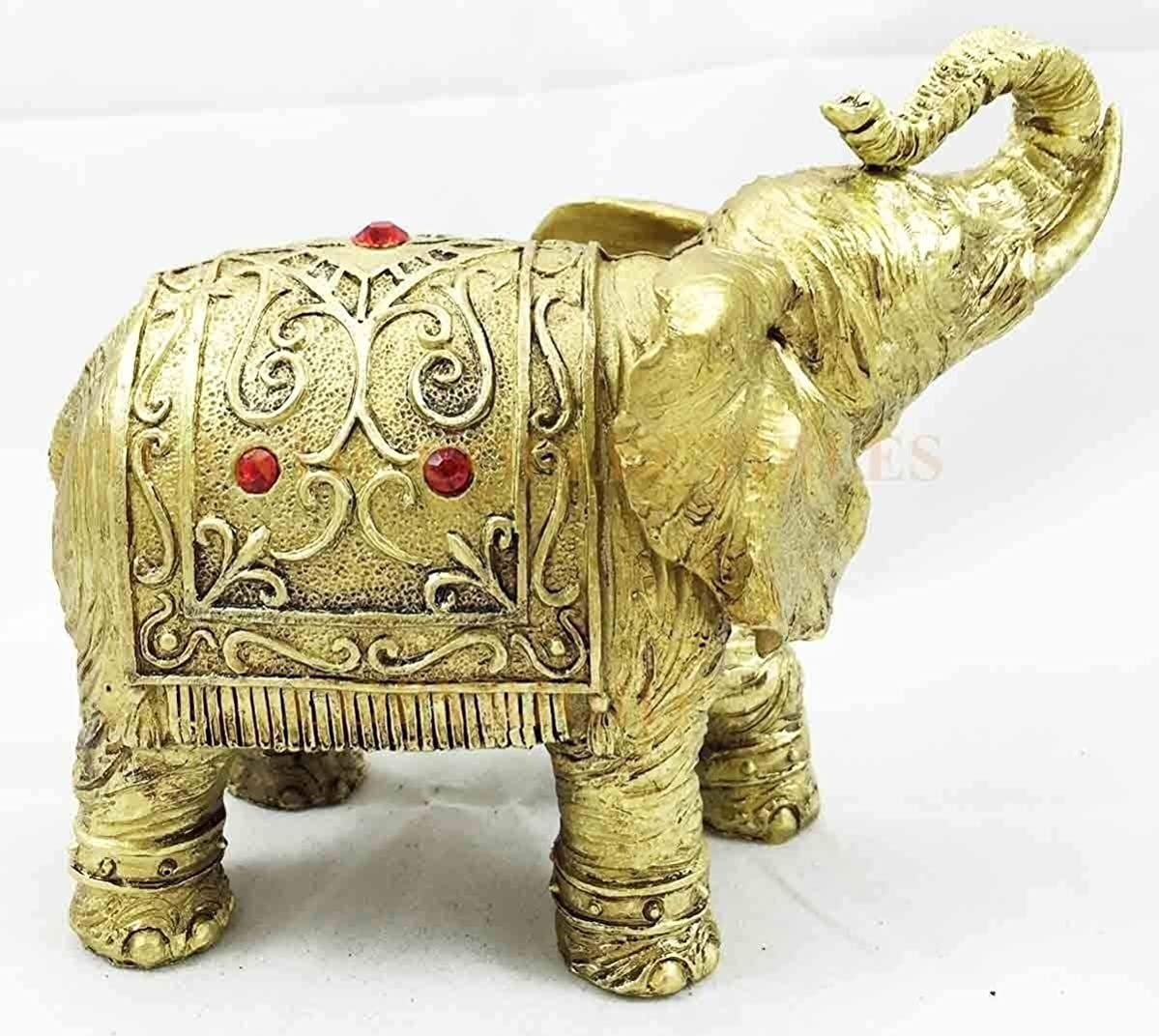 Figurine Thai Buddha Gold Decorated Design Elephant with Trunk Up 5.5