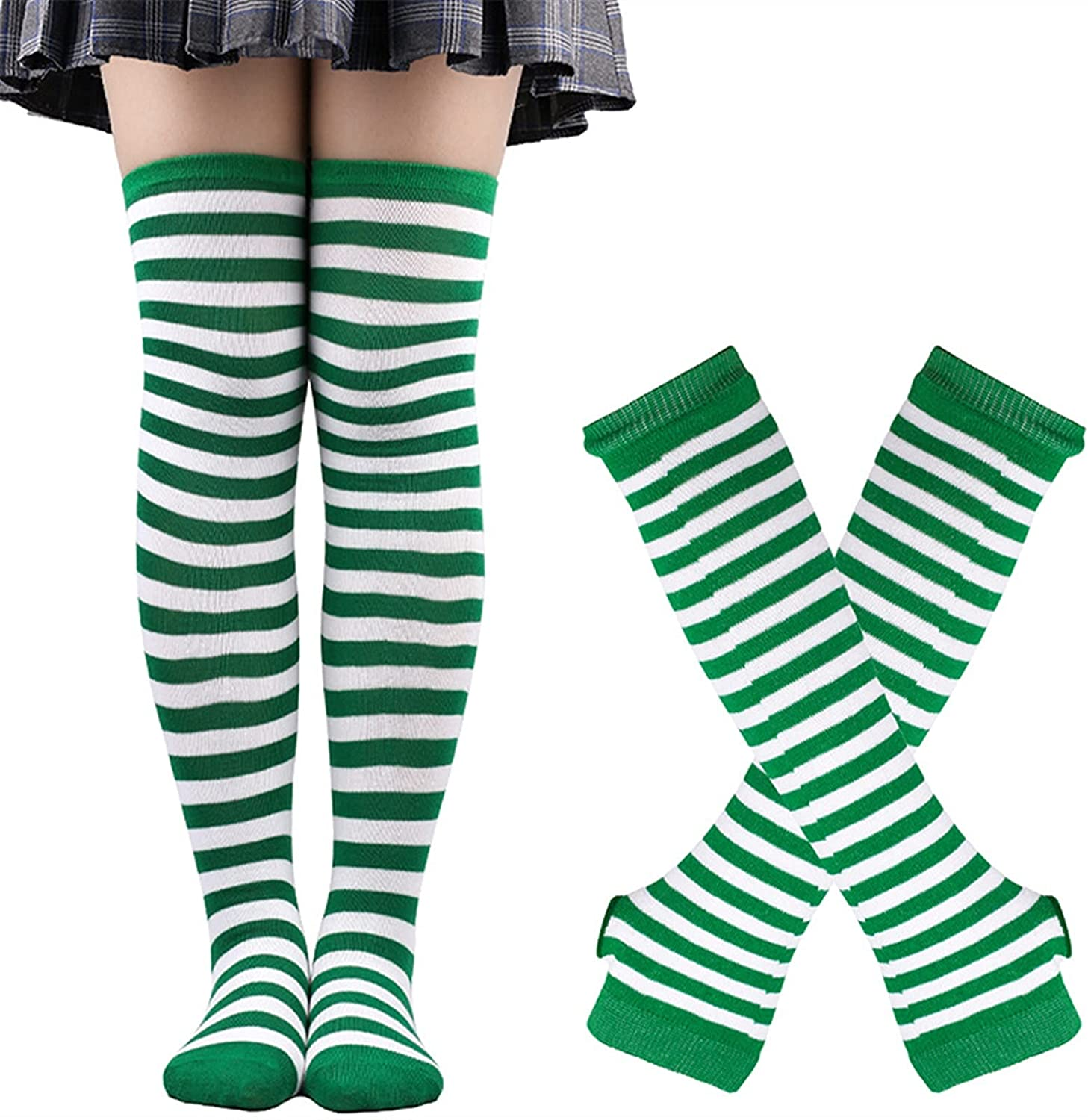 LUBINGT Winter Gloves Fashion Striped Arm Sleeve Thumbhole Sleeves Knee High Socks Set for Christmas Fingerless Stretchy Gloves Stockings (Color : Green White Strip, Gloves Size : One Size)