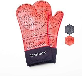 Hanseküche Premium rękawice kuchenne (zestaw 2 szt.) - odporne na wysokie temperatury rękawice z silikonu i bawełny, do ga...