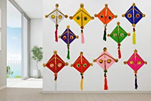 JH Gallery Woollen Handmade Colourful Kite Hanging Decoration- Pack of 10