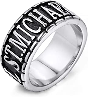 Mens Stainless Steel Ring The Archangel ST.Michael Round of Silver Tone Colour with 1X Velvet Gift Bag (Silver)