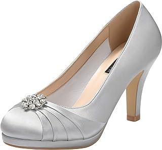 ERIJUNOR Women Comfort Mid Heel Pumps Closed-Toe Satin Wedding Evening Party Dress Shoes