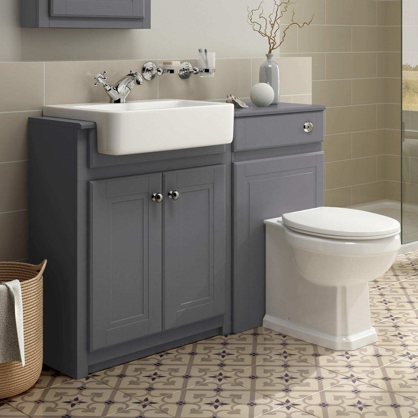 1100mm Combined Vanity Unit Toilet Basin Grey Bathroom Furniture Storage Sink Ibathuk Amazon Co Uk Home Kitchen