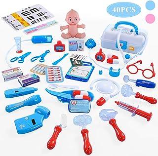 TEMI 医者セットおもちゃ 医療キットおもちゃ ごっこ遊び 誕生日プレゼント 出産祝い ケース付 40点セット ブルー