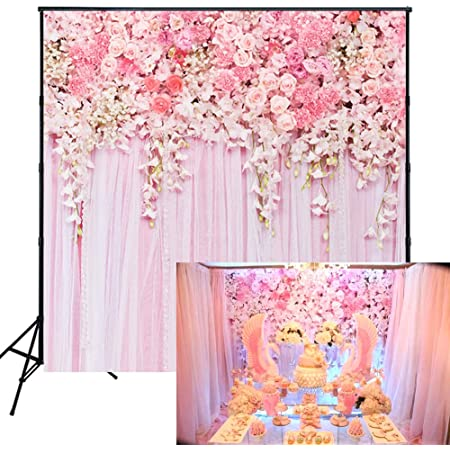 Orange and Pink 8x10 FT Photo Backdrops,Watercolor Style Flowers with Brush Marks Romantic Composition Background for Baby Shower Birthday Wedding Bridal Shower Party Decoration Photo Studio