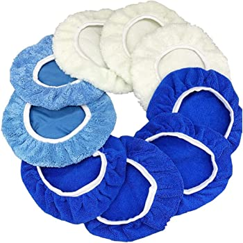 9 to 10 Inches Buffer Bonnets 9Pcs Waxers Bonnet Set Polishing Pads Bonnet Car Polisher Pad Buffer Bonnet Polishing Pad Car Wax Kit - Mix Pack of Coral Fleece, Woolen, Microfiber