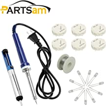 Partsam 6Pcs X27 168 Stepper Motor Gauge Cluster Speedometer Repair Kit Compatible with GMC Chevrolet GM+ 10pcs Blue LED Bulb + 40W Soldering Iron + Solder Sucker + Foot Soldering Wire