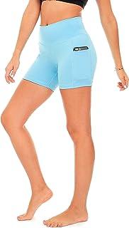 DEAR SPARKLE Yoga Shorts for Women with 2 Pockets - Workout Running High Waist Short - Plus (S15)