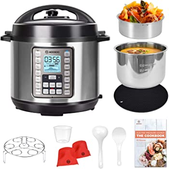 MOOSOO 9-in-1 Electric Pressure Cooker with LCD, 6QT Instant Programmable Pressure Pot, 15 One-Touch Programs with Deluxe Accessory Set