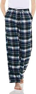 CQR Women's 100% Cotton Flannel Plaid Pajama Pants, Brushed Soft Lounge & Sleepwear PJ Bottoms with Pockets