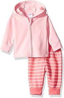 Hanes Ultimate Baby Baby-Girls BFFZN2 Flexy Fleece Adjustable Fit Jogger with Zippin Fleece Hoodie Layette Set - Multi