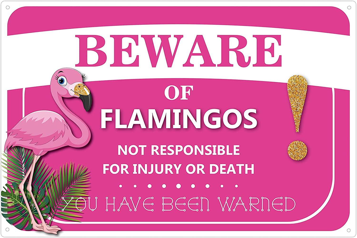 Therwen Flamingo Metal Pink Sign for Women Aluminum 11.8 x 7.9 Inch Beware of Flamingo Warning Decor Metal Pink Flamingo Sign Indoor Outdoor Flamingo Wall Decor for Home Lawn Garden Living Room