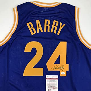 Autographed/Signed Rick Barry Golden State Blue Basketball Jersey JSA COA