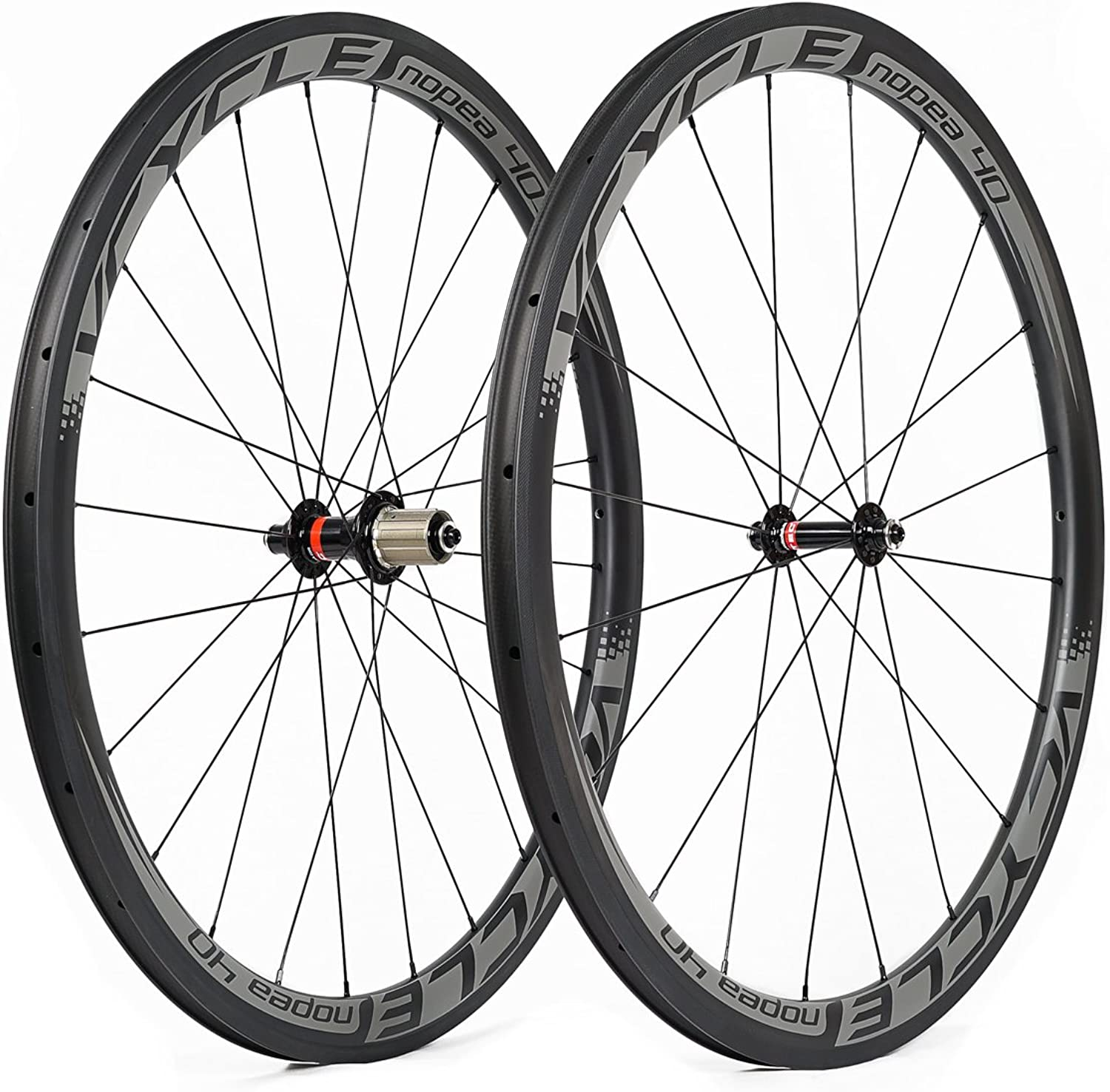 VCYCLE Halo 40mm Carbon Fiber Racing Road Bike Wheelset 700C in Bicycle Wheel 25mm Width Clincher Ultra Light Shimano or Sram 8 9 10 11 Speed