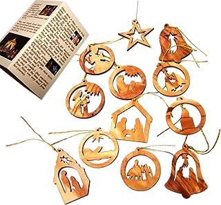 Holy Land Market Olive Wood Ornaments - Mix (Set of 12 Flat Ornaments).