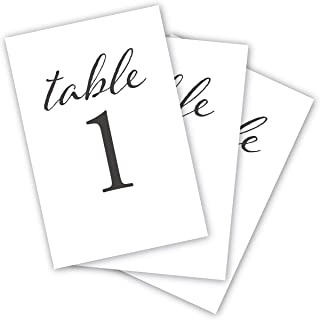 HDCo Black Wedding Table Numbers, 1-25, Centerpiece Decorations, Double Sided 4x6, Numbers 1-25 and Head Table Card Included, for Table Number Holders