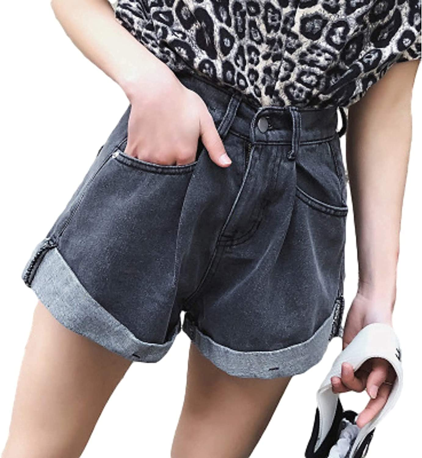 GHJX Women's Juniors Denim Shorts Wide-Leg Casual Jeans Relaxed Crimping with Side