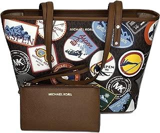 MICHAEL Michael Kors Aspen Jet Set Travel MD TZ Tote bundled with Double Zip Wristlet/Wallet (Signature MK Brown/Patches)