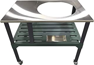 RMP Universal Steel Grill Cart for Round Ceramic Grill, Fits a Large Big Green Egg Grill, Stainless Steel Finish Table Top, with Rotating and Locking Wheels