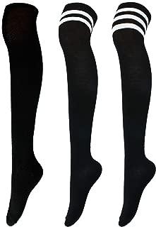 Aneco 3 Pairs Over Knee Thigh Socks Knee-High Boot Sock High Thigh Stockings Women Socks, 3 Styles