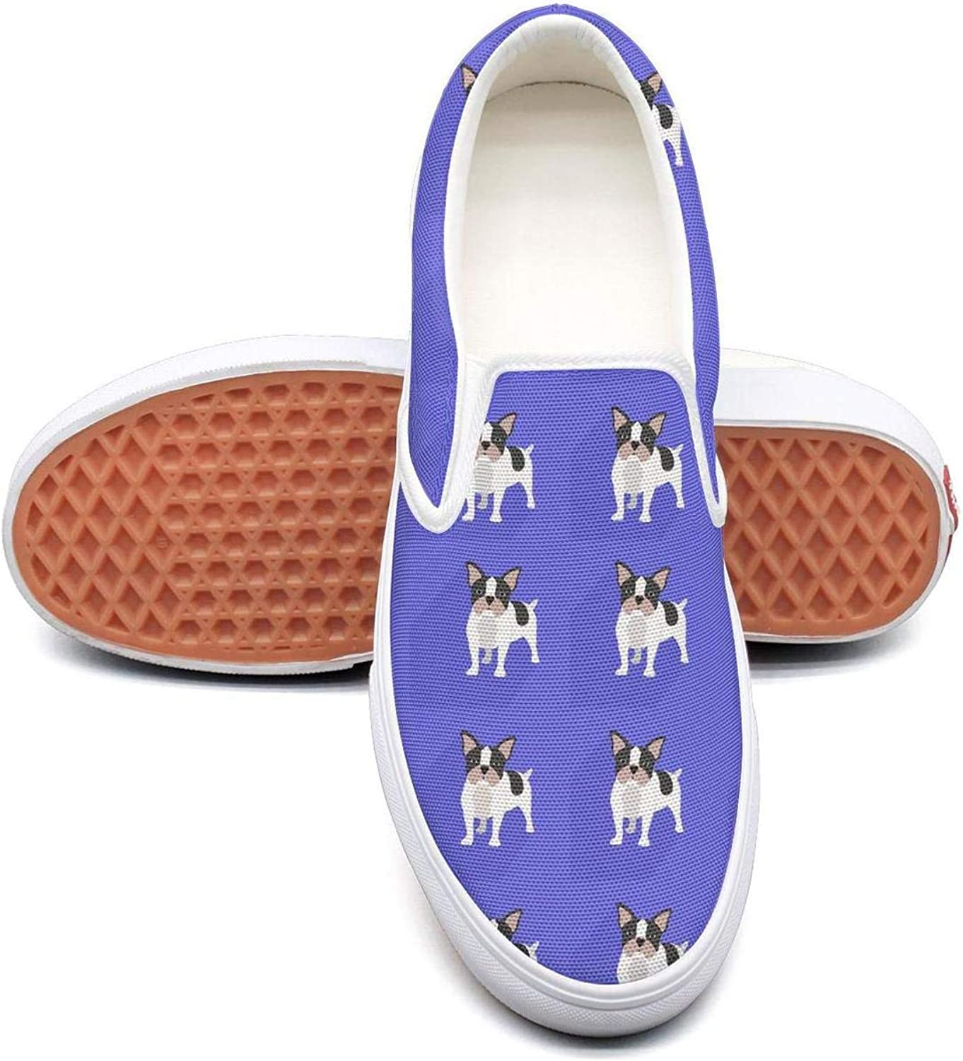 Refyds-es Funny French Bulldog Womens Fashion Slip on Low Top Lightweight Canvas Athletic Sneakers