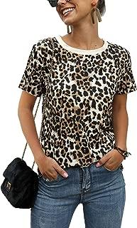 MiiVoo Women's Summer Short Sleeve Leopard Print Fashion Tops T-Shirts